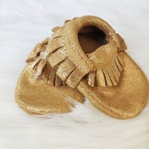 Leather gold sparkly moccasins